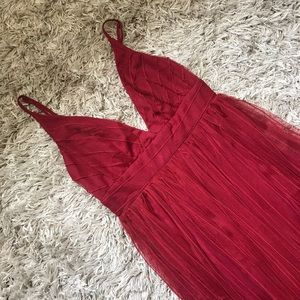 Maroon/red tulle gown